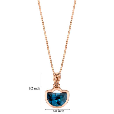 14k Rose Gold 4.00 carat London Blue Topaz Half Moon Cut Pendant