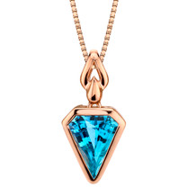 14k Rose Gold 3.00 carat Swiss Blue Topaz Chevron Cut Pendant