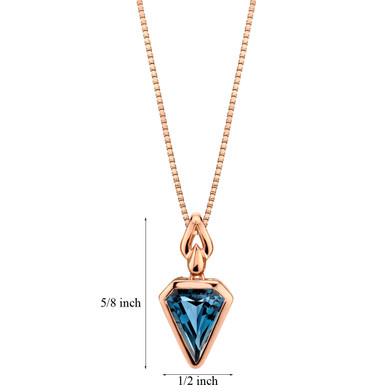 14k Rose Gold 3.00 carat London Blue Topaz Chevron Cut Pendant