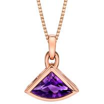 14k Rose Gold 2.00 carat Amethyst Fan Shaped Pendant