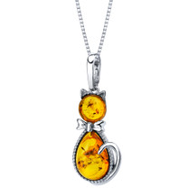 Baltic Amber Sterling Silver Cat Pendant Necklace