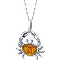 Baltic Amber Sterling Silver Crab Pendant Necklace