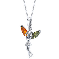 Baltic Amber Sterling Silver Fairy Pendant Necklace