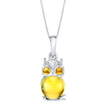 Citrine Mini Owl Sterling Silver Pendant Necklace