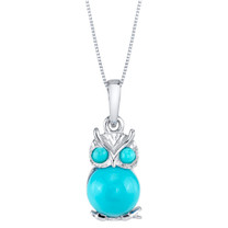 Sterling Silver Mini Owl Synthetic Turquoise Pendant Necklace