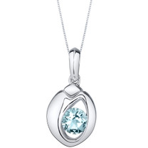 Aquamarine Sterling Silver Sphere Pendant Necklace