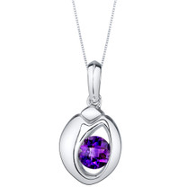 Amethyst Sterling Silver Sphere Pendant Necklace
