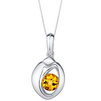 Citrine Sterling Silver Sphere Pendant Necklace