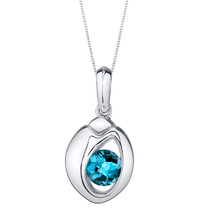 London Blue Topaz Sterling Silver Sphere Pendant Necklace