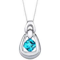 Swiss Blue Topaz Sterling Silver Sungate Pendant Necklace