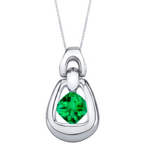 Simulated Emerald Sterling Silver Sungate Pendant Necklace