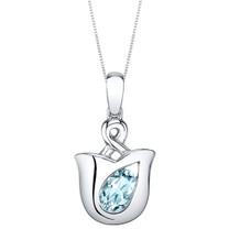 Aquamarine Sterling Silver Tulip Pendant Necklace