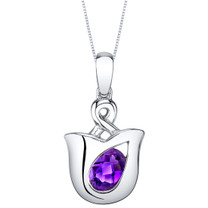 Amethyst Sterling Silver Tulip Pendant Necklace