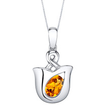 Citrine Sterling Silver Tulip Pendant Necklace