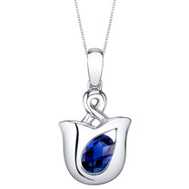 Created Sapphire Sterling Silver Tulip Pendant Necklace