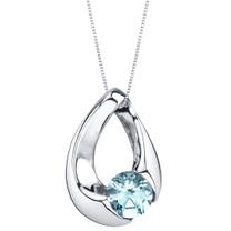 Aquamarine Sterling Silver Slider Pendant Necklace