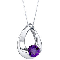 Amethyst Sterling Silver Slider Pendant Necklace