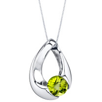Peridot Sterling Silver Slider Pendant Necklace
