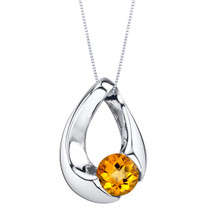 Citrine Sterling Silver Slider Pendant Necklace