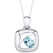Aquamarine Sterling Silver Sculpted Pendant Necklace