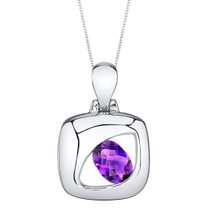 Amethyst Sterling Silver Sculpted Pendant Necklace