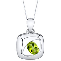 Peridot Sterling Silver Sculpted Pendant Necklace