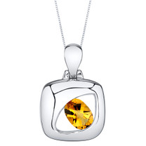 Citrine Sterling Silver Sculpted Pendant Necklace