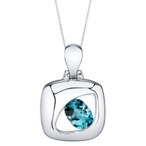 London Blue Topaz Sterling Silver Sculpted Pendant Necklace