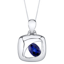 Created Sapphire Sterling Silver Sculpted Pendant Necklace