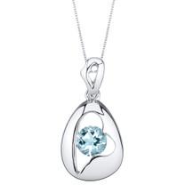 Aquamarine Sterling Silver Minimalist Pendant Necklace