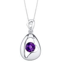 Amethyst Sterling Silver Minimalist Pendant Necklace