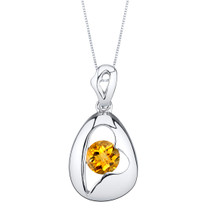 Citrine Sterling Silver Minimalist Pendant Necklace