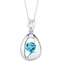 Swiss Blue Topaz Sterling Silver Minimalist Pendant Necklace