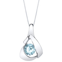Aquamarine Sterling Silver Chiseled Pendant Necklace