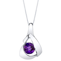 Amethyst Sterling Silver Chiseled Pendant Necklace