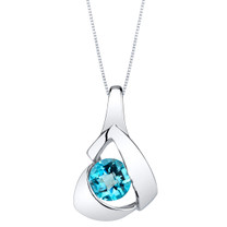 Swiss Blue Topaz Sterling Silver Chiseled Pendant Necklace