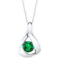 Simulated Emerald Sterling Silver Chiseled Pendant Necklace