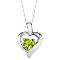 Peridot Sterling Silver Heart in Heart Pendant Necklace