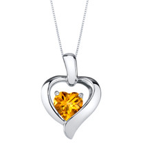 Citrine Sterling Silver Heart in Heart Pendant Necklace