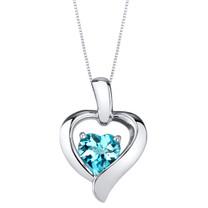 Swiss Blue Topaz Sterling Silver Heart in Heart Pendant Necklace