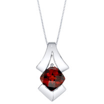 Garnet Sterling Silver Pagoda Pendant Necklace