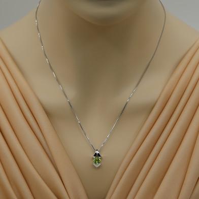 Peridot Sterling Silver Pagoda Pendant Necklace