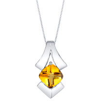 Citrine Sterling Silver Pagoda Pendant Necklace