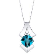 London Blue Topaz Sterling Silver Pagoda Pendant Necklace