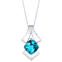 Swiss Blue Topaz Sterling Silver Pagoda Pendant Necklace