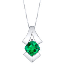 Simulated Emerald Sterling Silver Pagoda Pendant Necklace
