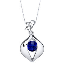 Created Sapphire Sterling Silver Venus Pendant Necklace