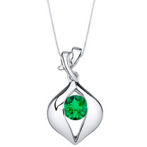 Simulated Emerald Sterling Silver Venus Pendant Necklace