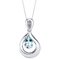 Aquamarine Sterling Silver Raindrop Pendant Necklace