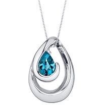 London Blue Topaz Sterling Silver Wave Pendant Necklace